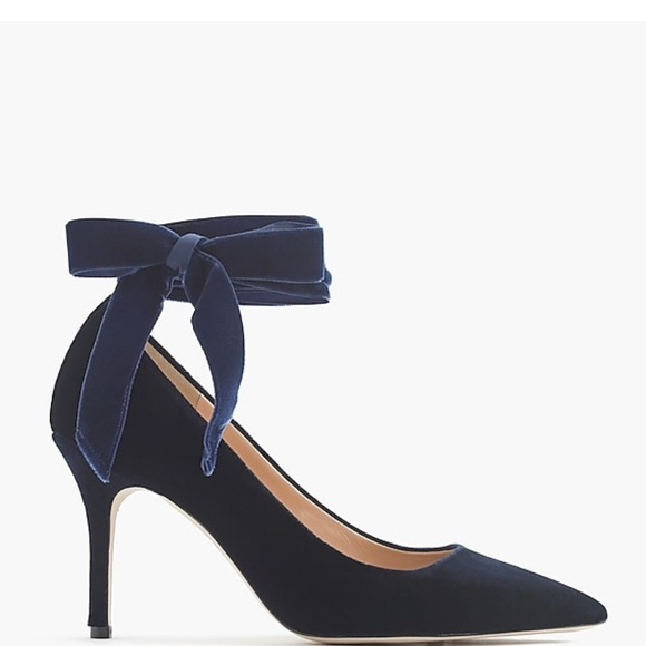 482235a374 J. Crew Shoes | J Crew Elsie Ankle Tie Velvet Navy Blue Heels | Poshmark